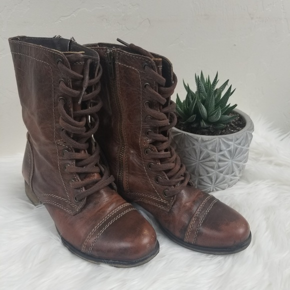 d550cf5b09a Steve Madden  Troopa brown leather combat boots